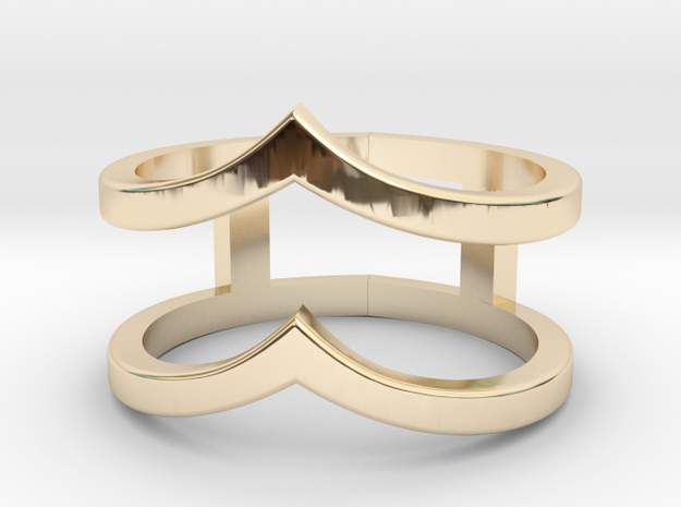 Double Chevron Ring in 14k Gold Plated Brass