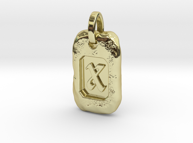 Old Gold Nugget Pendant X in 18k Gold Plated Brass