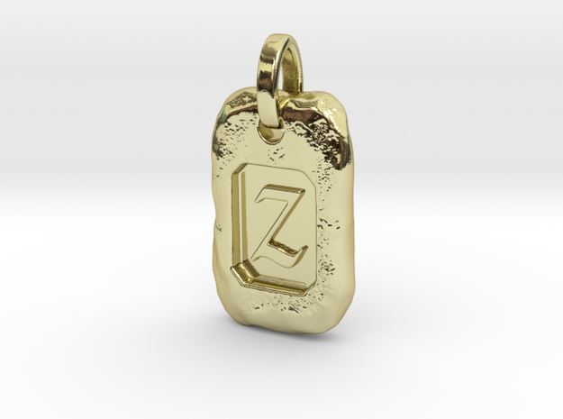 Old Gold Nugget Pendant Z in 18k Gold Plated Brass