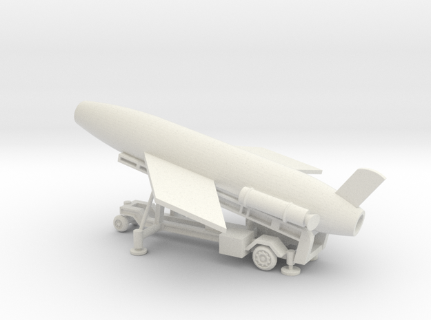 1/96 Scale MK4 Regulus Missile Launcher with Missi in White Natural Versatile Plastic