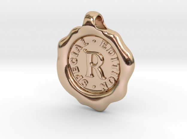 Seal Pendant R in 14k Rose Gold Plated Brass