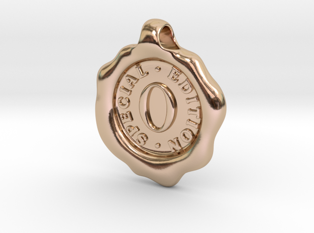 Seal Pendant O in 14k Rose Gold Plated Brass