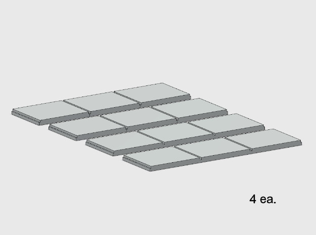 Sidewalk - 3 Segments (4 ea.) in White Natural Versatile Plastic: 1:87 - HO