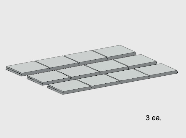 Sidewalk - 4 Segments (3 ea.) in White Natural Versatile Plastic: 1:87 - HO