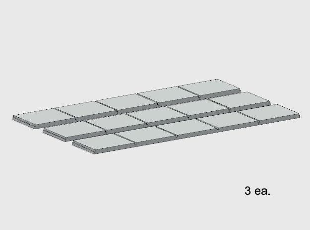 Sidewalk - 5 Segments (3 ea.) in White Natural Versatile Plastic: 1:87 - HO