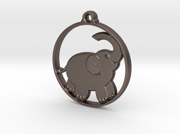 Elephant Pendant in Polished Bronzed-Silver Steel