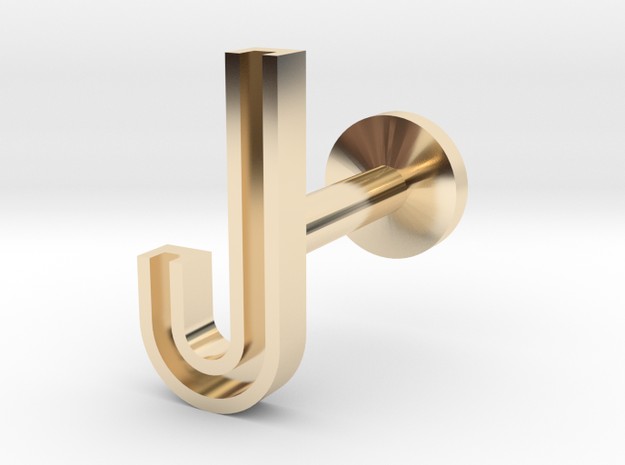 Letter J in 14k Gold Plated Brass