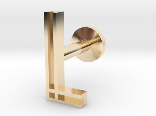 Letter L in 14k Gold Plated Brass