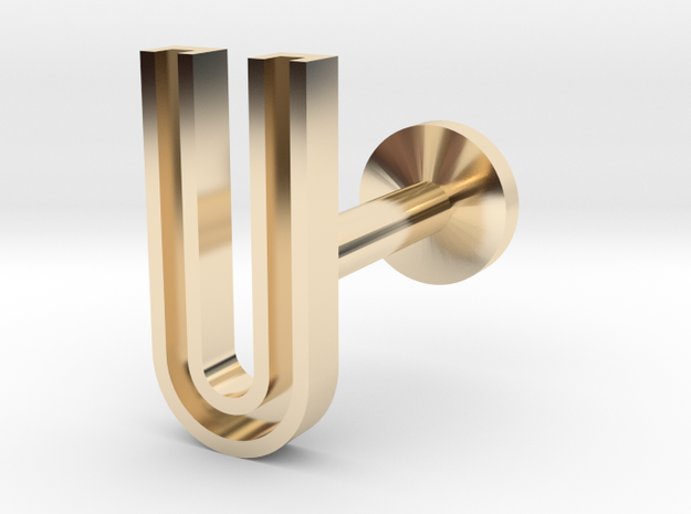 Letter U in 14k Gold Plated Brass
