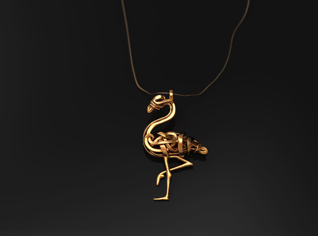 Flamingo Pendant in 14k Gold Plated Brass