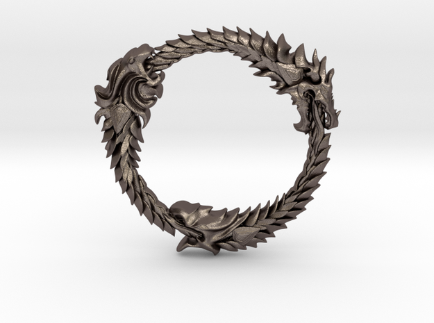 The Elder Scrolls Ring Pendant in Polished Bronzed-Silver Steel