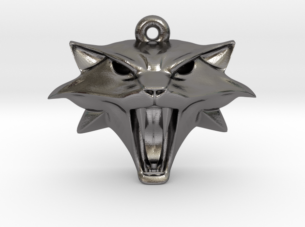 Witcher Cat School Pendant in Polished Nickel Steel
