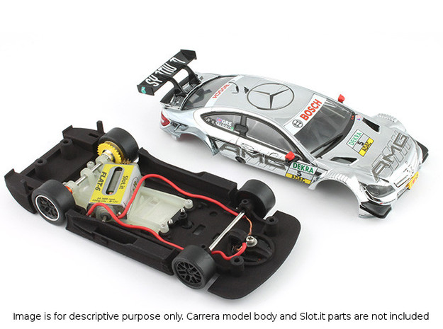 S03-ST1 Chassis for Carrera Merc. DTM STD/LMP in White Processed Versatile Plastic