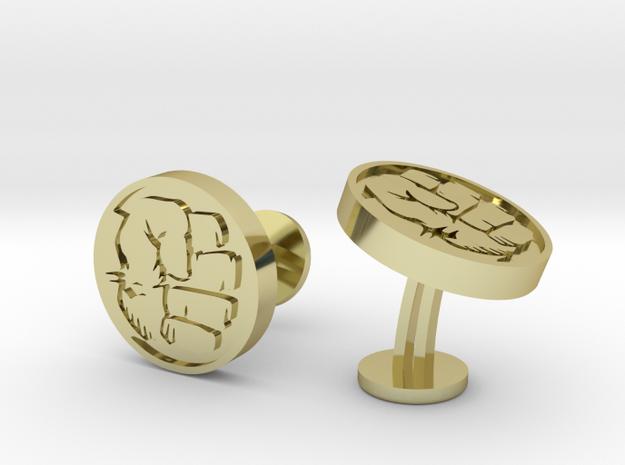 Hulk Fist Cufflinks in 18k Gold Plated Brass