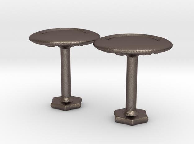 Hidden Dice Cufflinks - Simple in Polished Bronzed-Silver Steel