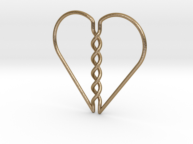 Tangled Heart in Polished Gold Steel