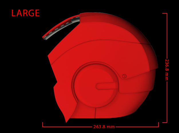 Iron Man Helmet - Head Left Side (Large) 2 of 4 3d printed CG Render (Side measurements, Head Left with head Right)