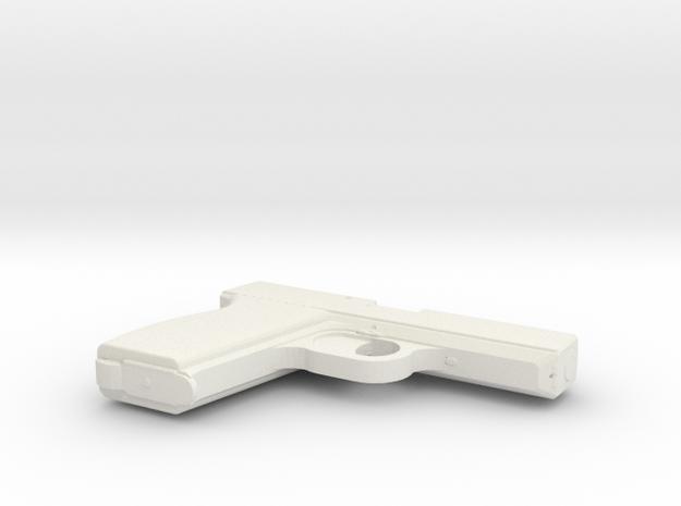 1:3 Miniature Pistol 380 ACP in White Natural Versatile Plastic