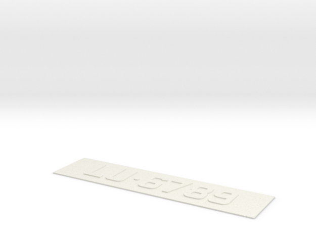 number plate 3 in White Natural Versatile Plastic