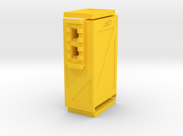 Crate Battery Box (54mm x 35mm x 94mm ID) in Yellow Processed Versatile Plastic