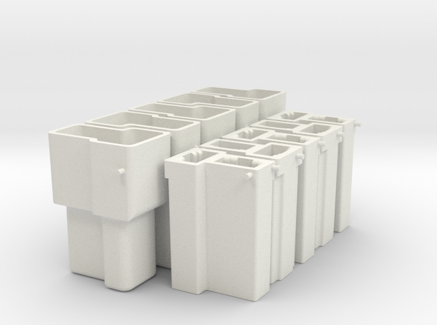 GM dual T connector housings -female and male, x5 in White Natural Versatile Plastic