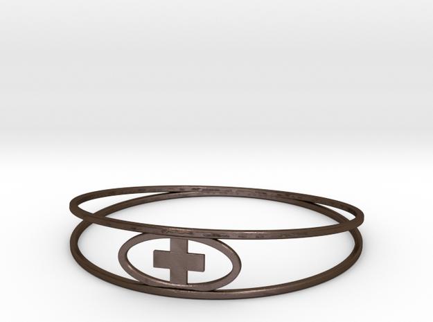 Round Plus Bracelet in Polished Bronze Steel
