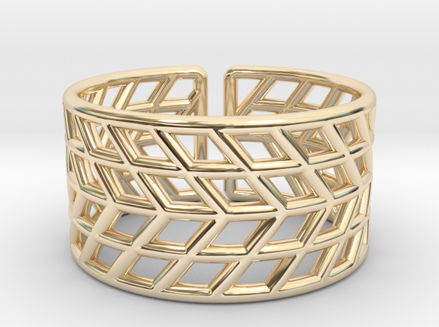 Mesh Grid Ring V2: Size 6-7 in 14k Gold Plated Brass