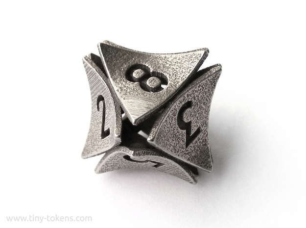 Peel Dice - D8 (eight sided gaming die) in Polished Bronzed-Silver Steel