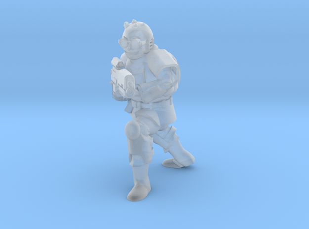 Scrap Armor Soldier with Gun in Smooth Fine Detail Plastic