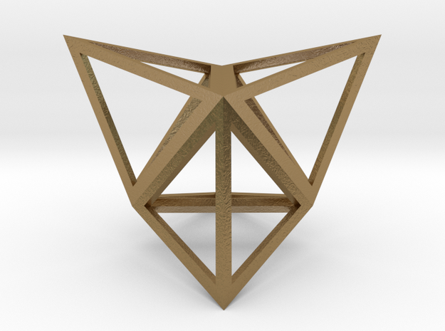 """Stellated Tetrahedron 1"""" in Polished Gold Steel"""