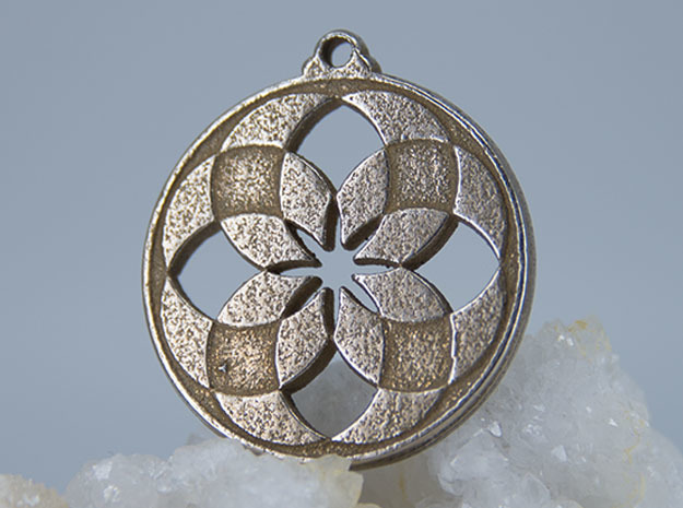 Lotus Pendant V in Polished Bronzed-Silver Steel