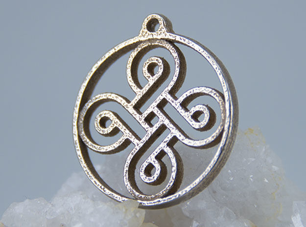 Four Leaf Clover Pendant in Polished Bronzed-Silver Steel