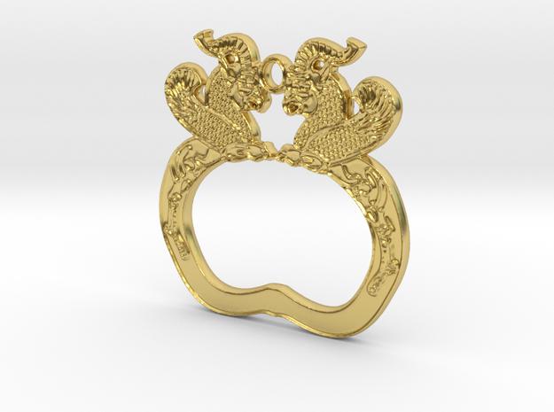 Achaemenid Griffins Pendant in Polished Brass