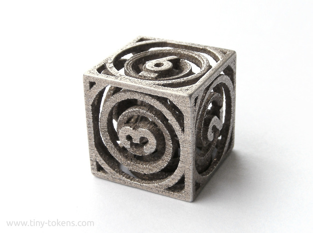 Vertigo dice - d6 gaming die in Polished Bronzed-Silver Steel