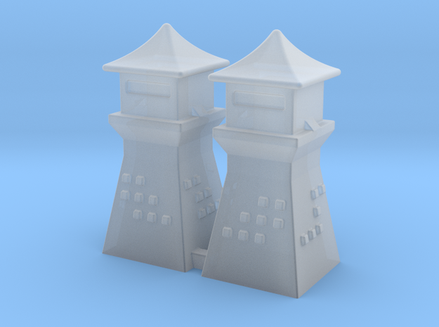 2mm 3mm Scale China Style Guard Tower Pair in Smooth Fine Detail Plastic