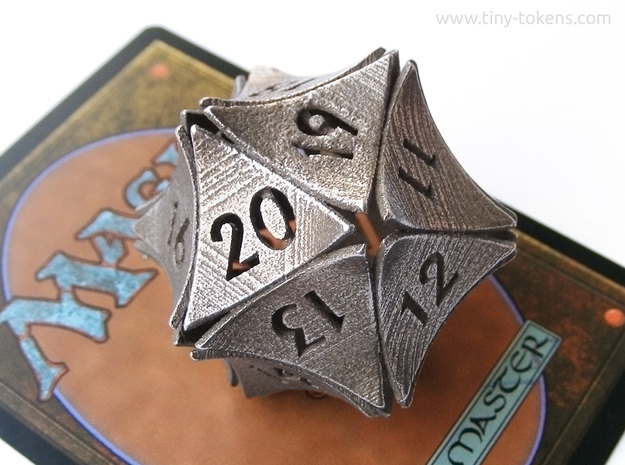 Peel Dice - Spindown D20 (life counter) in Polished Bronzed-Silver Steel