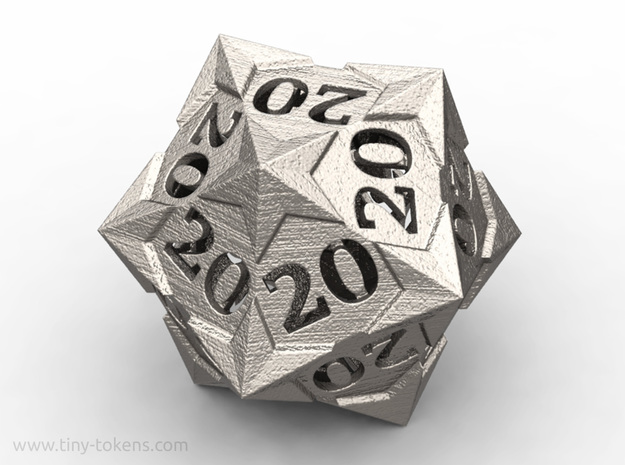 Starry All 20's version - Novelty D20 gaming dice in Polished Bronzed-Silver Steel