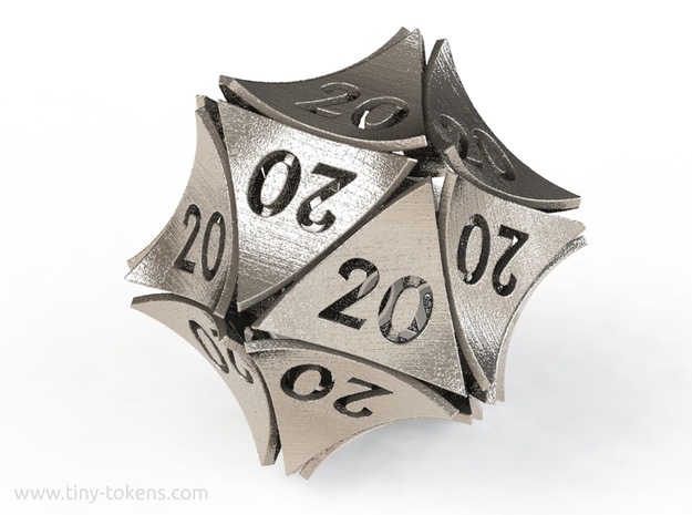 Peel All 20's version - Novelty D20 gaming dice in Polished Bronzed-Silver Steel