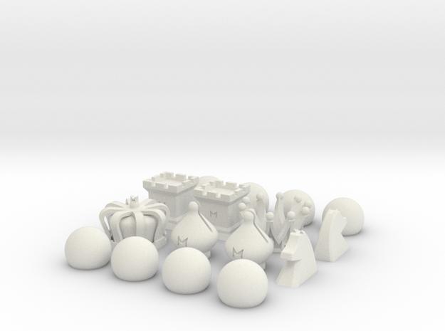 MILOSAURUS Chess Symbols Chess Set in White Natural Versatile Plastic