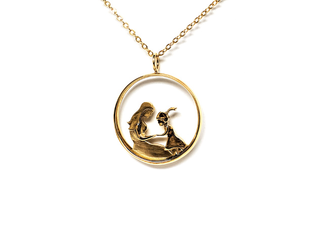 Mother & Daughter Pendant 2 -Motherhood Collection in Polished Brass
