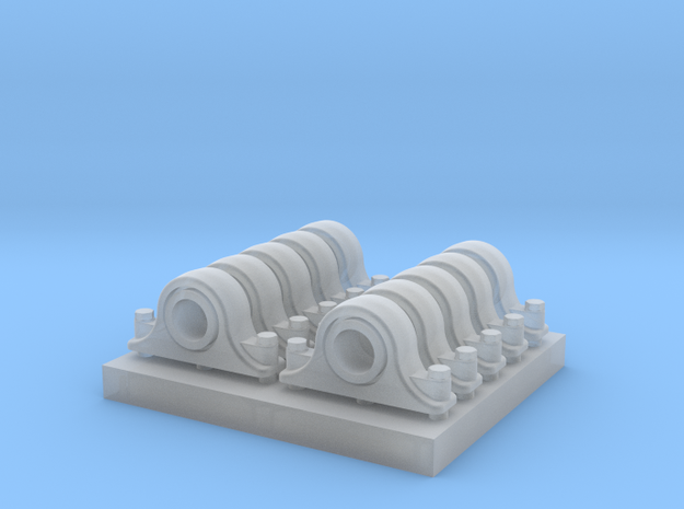 Pillow Blocks 3 inch 1:20.3 Scale in Smooth Fine Detail Plastic