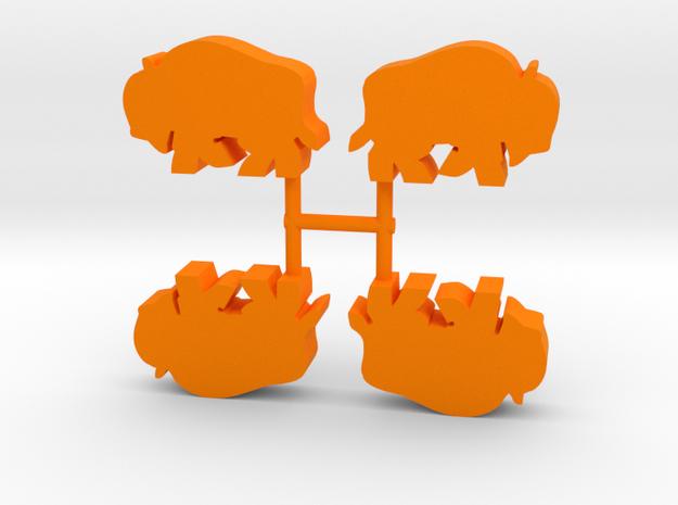 Bison Meeple, running, 4-set in Orange Processed Versatile Plastic
