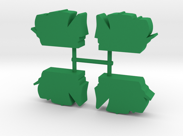 Carrack Ship Meeple, 4-set in Green Processed Versatile Plastic