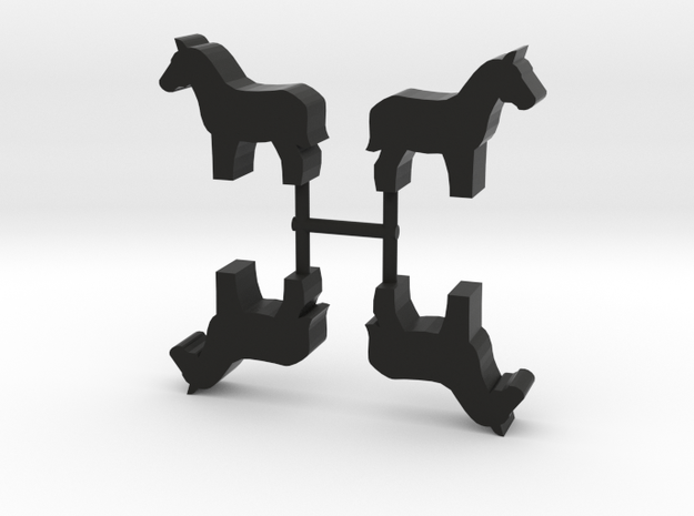 Horse Meeple, standing, 4-set in Black Natural Versatile Plastic