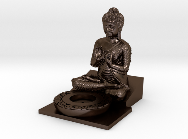Buddha Incense Holder in Polished Bronze Steel: Medium