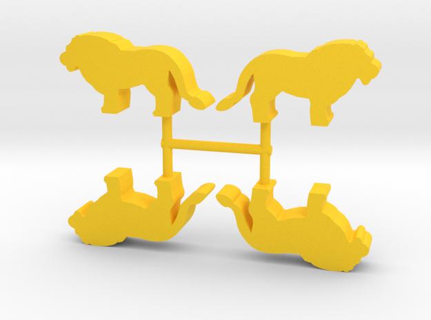 Lion Meeple, standing, 4-set in Yellow Processed Versatile Plastic