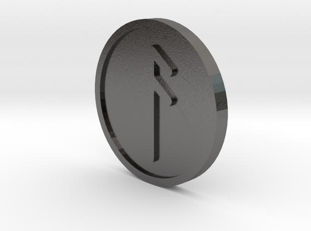 Ansuz Coin (Elder Futhark) in Polished Nickel Steel