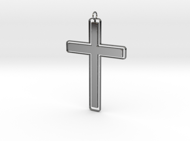 Outline Solid Cross Pendant in Fine Detail Polished Silver