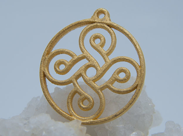 Four Leaf Clover Pendant II in Polished Gold Steel