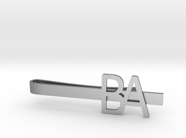 Custom Initial Tie Clip in Natural Silver
